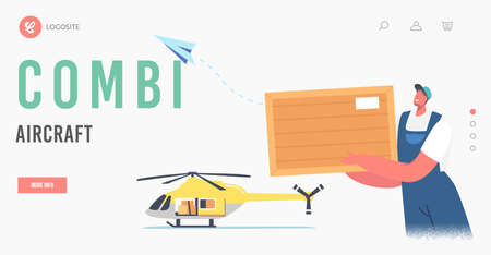 Combi Aircraft Landing Page Template. Worker Loader Male Character Loading Parcel on Helicopter for Air Transportation
