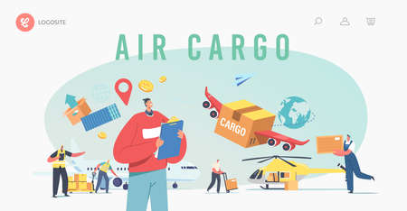 Air Cargo Transportation, Aircraft Logistics Landing Page Template. Delivering Goods by Airplane, Helicopter