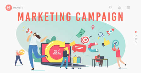 360 Degree Marketing Landing Page Template. Tiny Characters at Huge Laptop with Turning Arrow. Manager Attract Clients