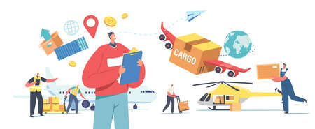 Air Cargo Transportation, Aircraft Logistics, Delivering Goods by Airplane, Helicopter or Drone. Characters Loading Boxes Vectores