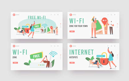 Network Technology, Free Wifi Hotspot Landing Page Template Set. Tiny Characters at Huge Router use Wifi Connection