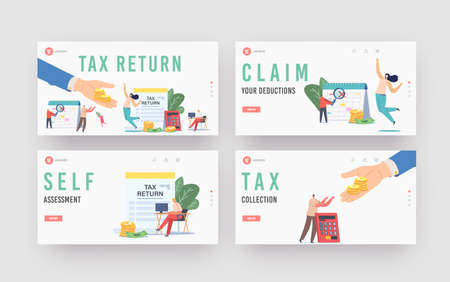 Tax Return Landing Page Template Set. Characters Get Money Refund for Purchasing, Mortgage or Health Care Service