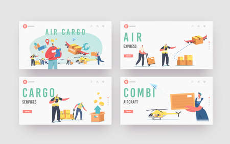 Air Cargo Transportation, Aircraft Logistics Landing Page Template Set. Delivering Goods by Airplane, Helicopter Vectores