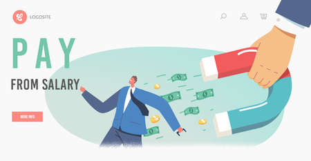 Debt Collection Landing Page Template. Businessman Character Escape from Huge Hand with Magnet Attracting Money
