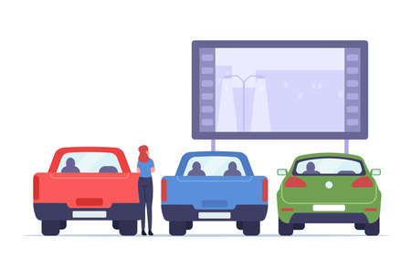 Woman on Transportation Visit Car Street Cinema. Drive-in Theater with Automobiles Stand in Open Air Parking, Large Outdoor Screen with Movie Scene. Urban Entertainment. Cartoon Vector Illustration