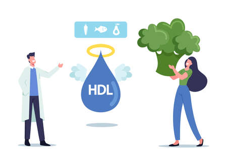 Doctor Character Explain Benefit of Good Cholesterol to Tiny Female Patient with Huge Broccoli Piece in Hands. Hdl Angel