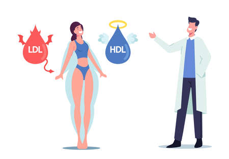 Doctor Explain to Female Patient about Good and Bad Cholesterol as Reason of Obesity. Hdl and Ldl Fats Devil and Angel