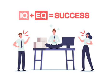 Iq and Eq Equal Success Concept. Office People Quarrel at Working Desk with Relaxed Businesswoman Sit in Meditation Pose