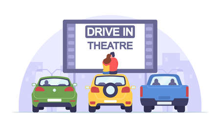 Loving Man and Woman Sit on Auto Roof Watch Movie in Drive-in Theater. Couple Dating at Car Cinema, Romantic Relations