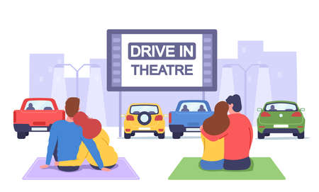 Couples at Car Cinema. Romantic Dating in Drive-in Theater, Loving Men and Women Sit on Plaids Watch Movie