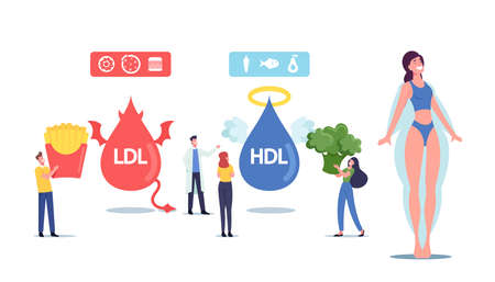 Good and Bad Cholesterol Concept. Tiny Male Female Characters with Products Contain Hdl and Ldl Fats as Reason Diseases
