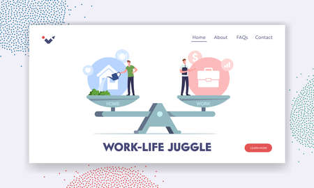 Balance between Work and Home Landing Page Template. Tiny Male Characters Balancing on Huge Scales with Career or Family