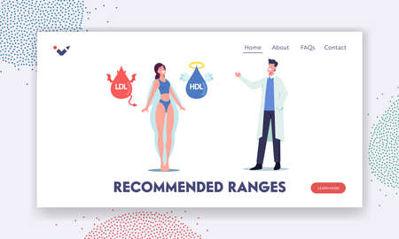 Hdl and Ldl Fats Landing Page Template. Doctor Explain to Female Patient about Good and Bad Cholesterol