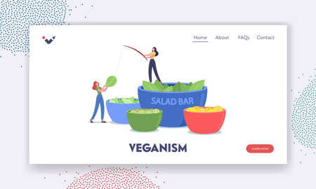 Veganism Landing Page Template. Tiny Characters Stand at Huge Bowl with Salad in Vegetarian Bar. People Eating Vegetable