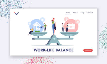 Work Home Balance Landing Page Template. Characters Balancing on Scales with Life Values. Woman Housewife Businesswoman
