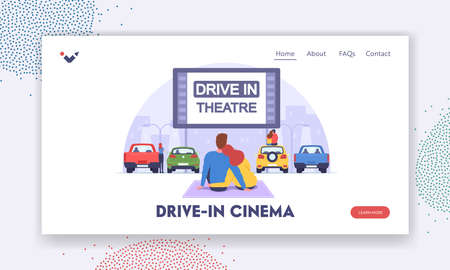 Drive-in Theater Landing Page Template. Couple at Car Cinema Romantic Dating, Automobiles Stand in Open Air City Parking Vectores