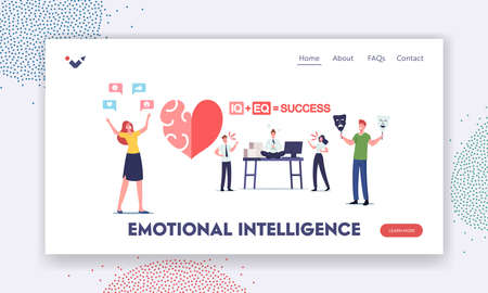 Emotional Intelligence Landing Page Template. Iq and Eq Concept. Characters Show Empathy, Communication Skills