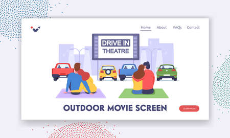 Couples at Car Cinema. Romantic Dating in Drive-in Theater Landing Page Template. Loving Men and Women Watch Movie
