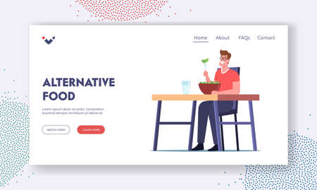 Alternative Food Landing Page Template. Healthy Nutrition, Vegetarian Restaurant with Natural Food. Vegan Bar Vectores