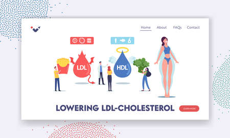 Good and Bad Cholesterol Landing Page Template. Tiny Characters with Products Contain Hdl and Ldl Fats as Obesity Reason