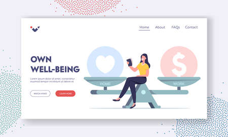 Life Dilemma, Decision Landing Page Template. Tiny Female Character Sit on Huge Scales Choose between Finance or Love