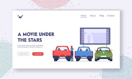 Woman Visit Car Cinema Landing Page Template. Drive-in Theater with Automobiles in Open Air Parking, Outdoor Screen