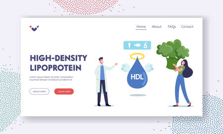 High Density Lipoprotein Landing Page Template. Doctor Character Explain Benefit of Good Cholesterol to Female Patient
