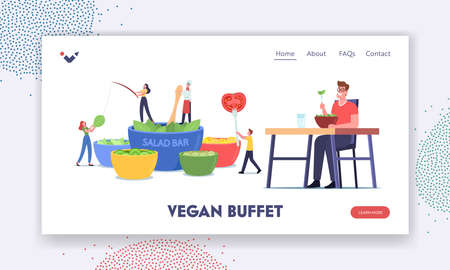 Tiny Characters Visit Salad Bar Landing Page Template. People Eating Vegetables in Vegan Buffet. Healthy Food, Veggies
