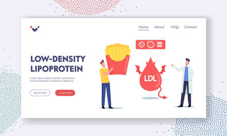 Low Density Lipoprotein Landing Page Template. Doctor Explain Danger of Bad Cholesterol to Patient with Fast Food Vectores