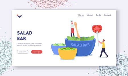 Salad Bar Landing Page Template. Tiny Chef Character Cooking Salad at Huge Bowl in Vegan Cafe, Man with Tomato on Fork