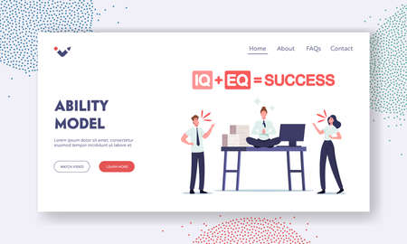 Iq and Eq Success Ability Model Landing Page Template. Office People Quarrel at Desk with Relaxed Businesswoman Meditate