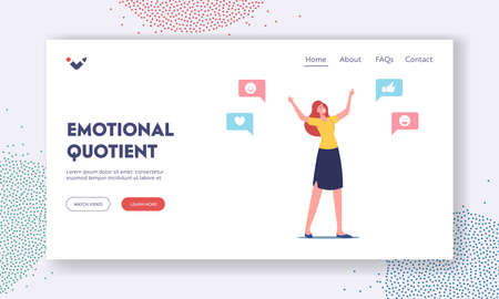 Emotional Intelligence Quotient Landing Page Template. Empathy, Cheerful Female Character Positive Friendly Behavior