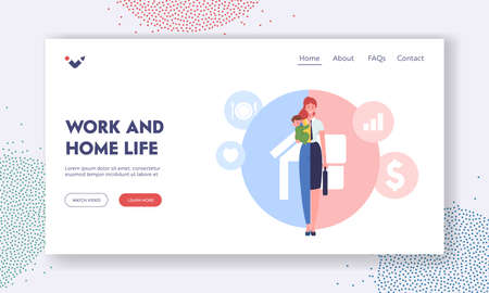 Work and Home Life Landing Page Template. Woman Character Separated on Halves as Housewife with Child and Businesswoman Vectores