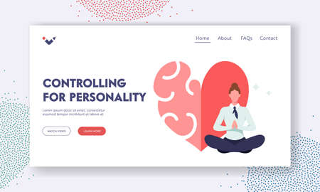 Iq and Eq Intelligence, Balance and Harmony Landing Page Template. Relaxed Female Character Meditate near Huge Heart