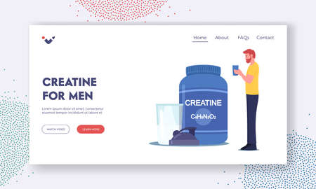 Creatine for Men Landing Page Template. Sportsman Character Drink Cocktail from Shaker in Gym. Sportive Lifestyle