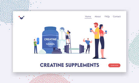 Tiny Characters Drinking Cocktail with Creatine Supplement in Gym Landing Page Template. Sportive Bodybuilding Nutrition