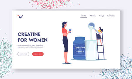 Creatine for Women Landing Page Template. Tiny Female Character Pour Powder for Making Cocktails in Shaker in Gym