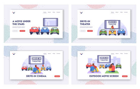 Drive-in Theater Landing Page Template Set. Couple at Car Cinema Romantic Dating, Automobiles Stand in Open Air Parking