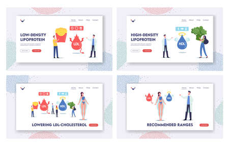 Good or Bad Cholesterol Landing Page Template Set. Tiny Characters with Products Contain Hdl and Ldl Fats Obesity Reason