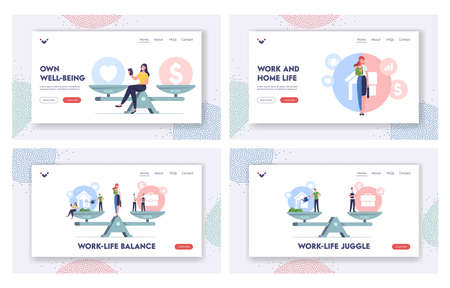 Work and Home Balance Landing Page Template Set. Characters Balancing on Scales with Life Values. Woman Make Choice