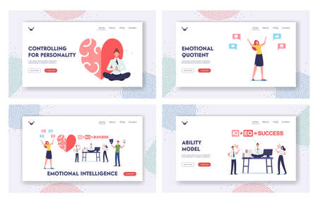 Emotional Intelligence Landing Page Template Set. Iq and Eq Concept. Characters Show Empathy, Communication Skills Vectores