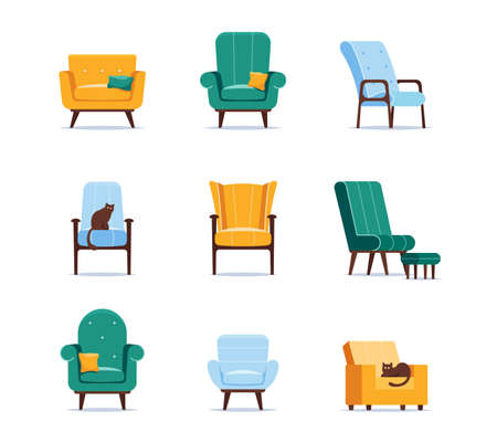 Set of Icons Armchairs of Different Design, Quilted Button Tufted Upholstery, Armrests, Wooden Thin Legs and Soft Seats Vector Illustration