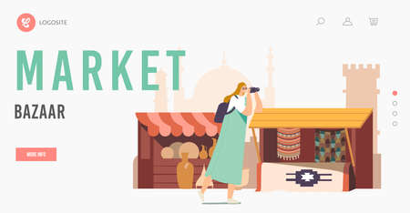 Arabic Bazaar Landing Page Template. Tourists Female Character with Photo Camera Visit Arab Market Walking along Stalls