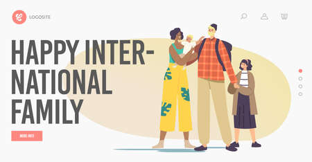 Happy International Family Landing Page Template. Interracial Parents and Kids. Multicultural and Multiracial Characters