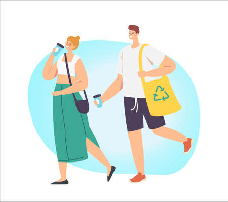 Couple Adult Man and Woman Characters Drink Coffee and Carry Products in Paper Eco Friendly Bag. Bio Degradable Package