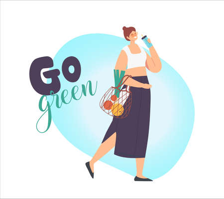 Woman Character Carry Products in String Eco Friendly Bag and Drink Coffee of Reusable Cup. Bio Degradable Package