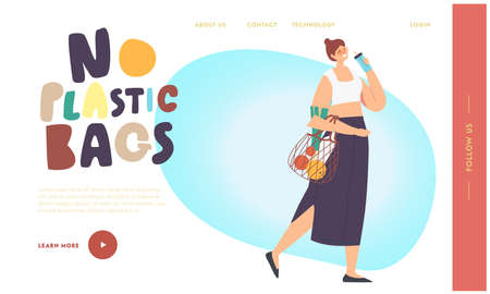 No Plastic Bags Landing Page Template. Woman Character Carry Products in String Eco Friendly Bag. Bio Degradable Package