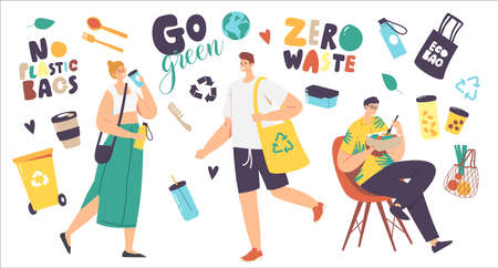 Zero Waste Concept. People Visit Shop with Reusable Eco Bags and Packages. Characters Use Ecological Recycling Packing