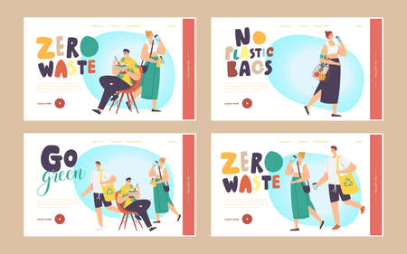 Go Green, Zero Waste Landing Page Template Set. People Visit Shop with Reusable Bags. Characters Use Ecological Packing