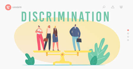Gender Inequality, Sex Discrimination Fairness Landing Page Template. One Businessman and Three Businesswomen on Scales